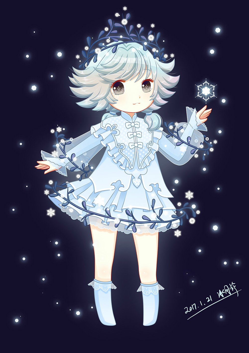 天谕玩家Q版同人手绘 时装纯雪萌娃
