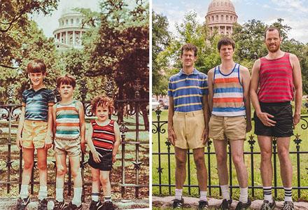 30张最具创意的童年对比图 你要不要也来一张搞笑旧照重拍呢!