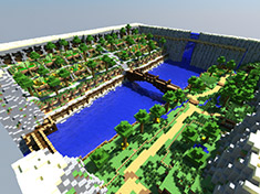 世外桃源 我的世界PC地图存档下载:绿洲瀑布城