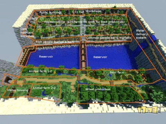 我的世界pc地图存档下载:绿洲瀑布城