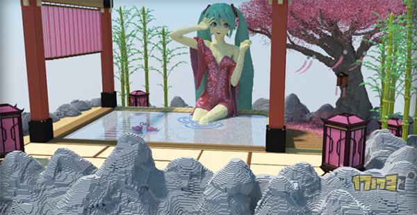 我的世界如此美腻 樱花树下泡温泉的初音未来图片