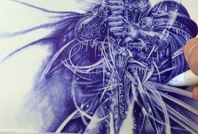 专区_《魔兽世界》 首页推送 > 大触魔兽玩家圆珠笔手绘:霸气外漏的