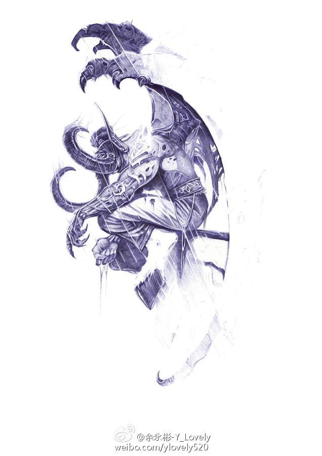 专区_《魔兽世界》 漫画推荐 > 魔兽玩家画作:圆珠笔手绘 悲伤的