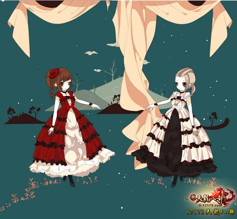 天龙八部卖萌风格时装手绘展示:甜美而华丽的霓裳