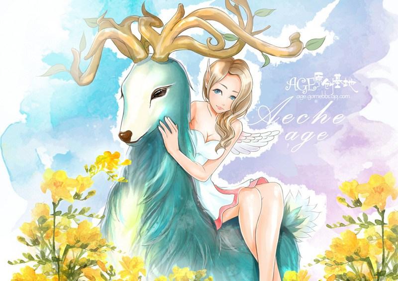 玩家原创手绘 萌萌哒小鹿和漂亮精灵