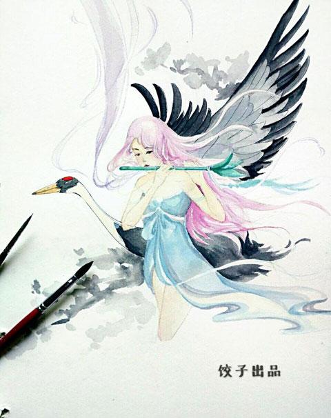 美图:手绘坐骑之鹤骨松姿玉笛飞声