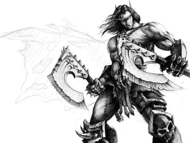 专区_《魔兽世界》 首页推送 > 玩家原创手绘画作 双持血吼的精灵狂