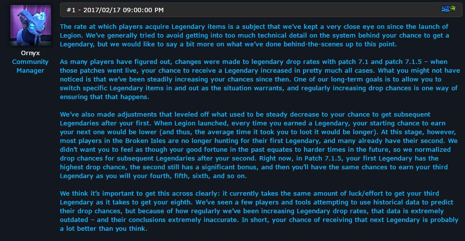 暴雪蓝帖:关于7.1.5传奇装备掉落几率的说明