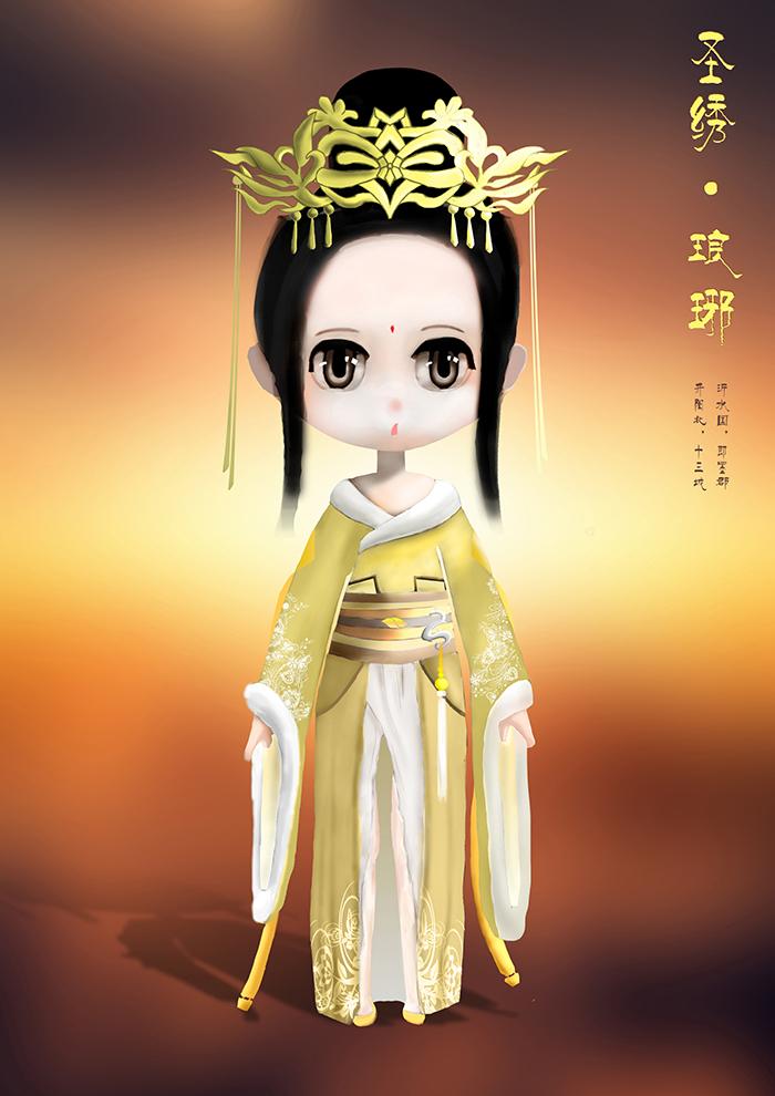 金色的小姑娘 q版圣绣琅琊手绘1枚赏析